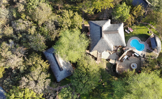 Helicopter view of the lodge