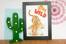 stay wild, leopard jaguar print, retro kitsch inspired home decor, homeware by sam bull