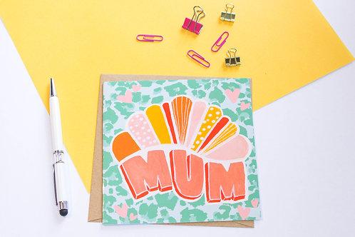 Retro Leopard Print Mum Greeting Card