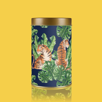 Tigers and Tropical Leaf Pattern (on storage tin)