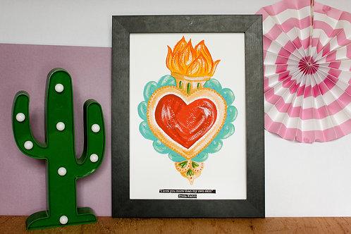 Sacred Heart Frida Kahlo Quote Print