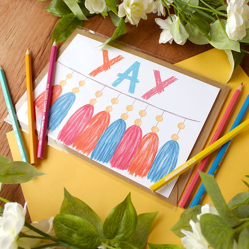 yay congrats greeting card with tassels