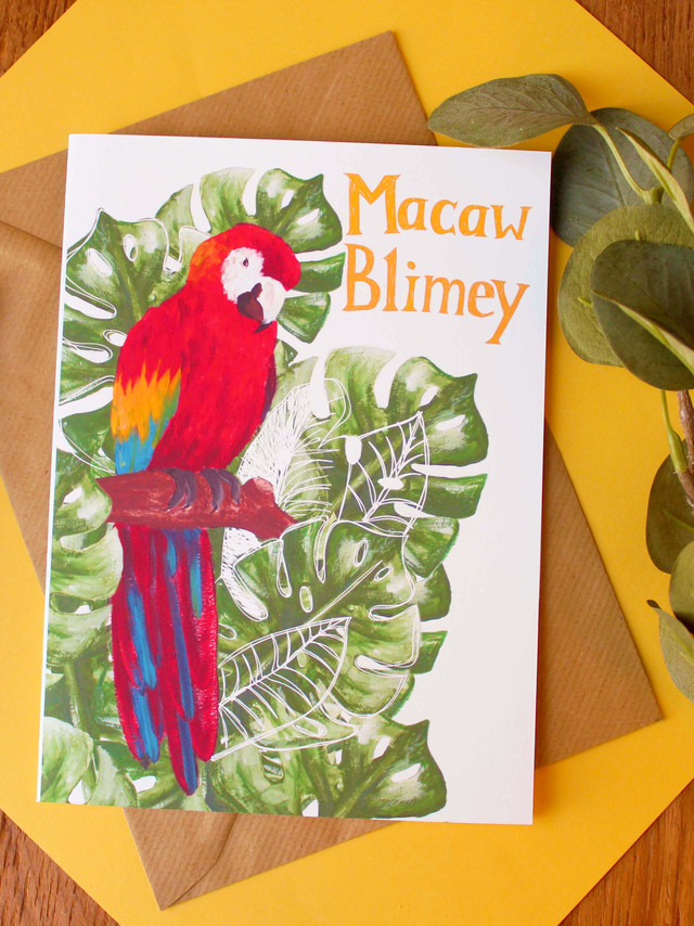 Macaw Blimey Greeting Card