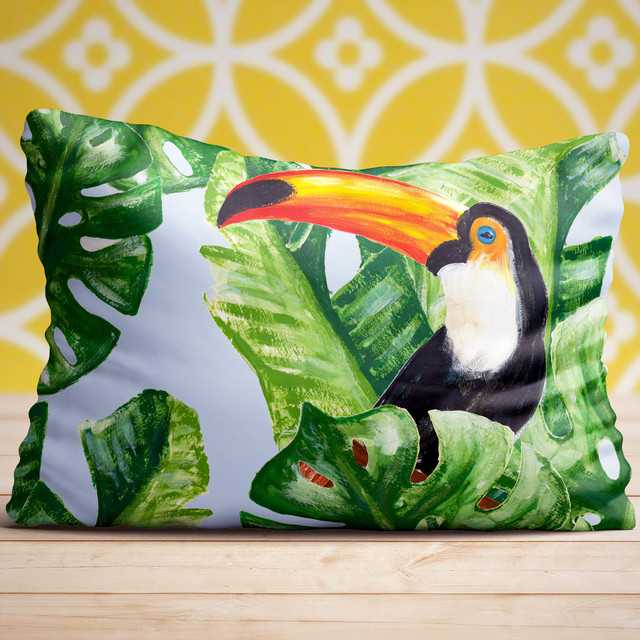 Exotic Birds and Tropical Leaves Pattern (on pillow)