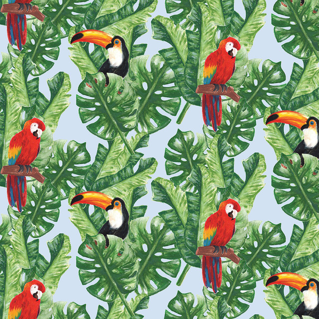 Exotic Birds and Tropical Leaves Pattern