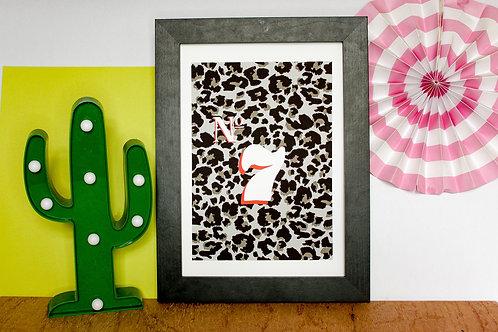 Personalised House Number Print (Grey Leopard Print)