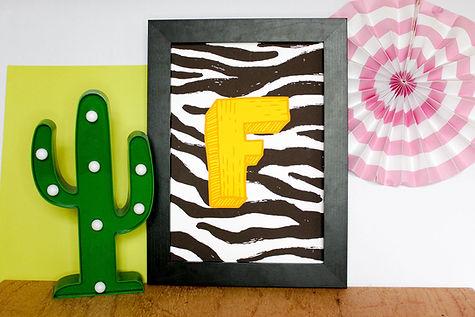 personalised letter print, zebra print artwork, kids room decor, nursery print, kitsch retro ...bull