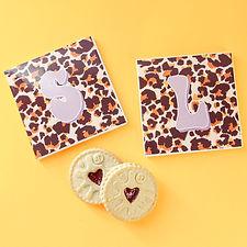 personalised leopard print coasters