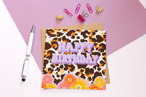 Leopard Print Happy Birthday Greeting Card