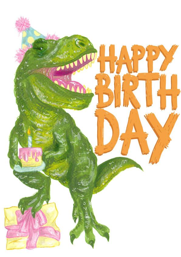 Party Dinosaur Card Illustration