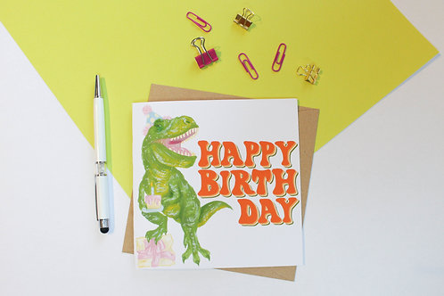 Dinosaur Happy Birthday Greeting Card