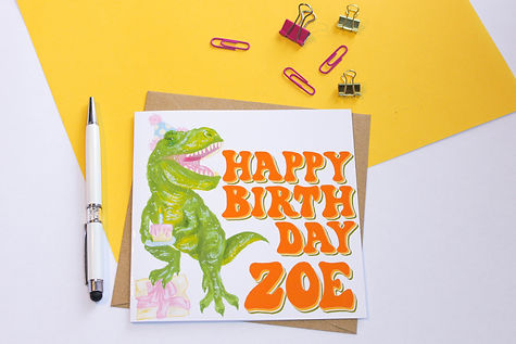 square personalised with name t rex greeting card. Retro 70s text, dinosaur wearing party hat and eating cake