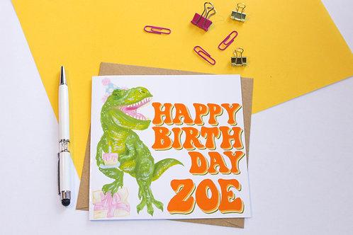 Personalised Happy Birthday Dinosaur Greeting Card