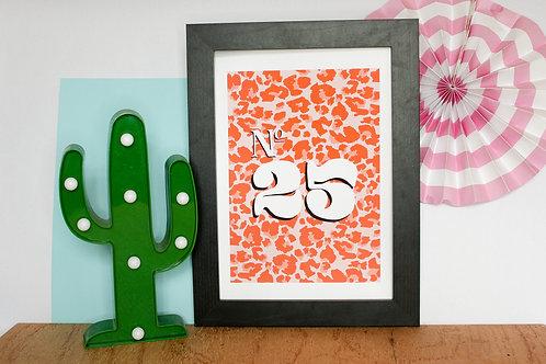Personalised House Number Print (Pink Leopard Print)