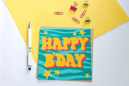 Retro Happy B'Day Greeting Card