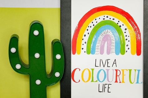 live a colourful life rainbow wall art print, home decor, homeware, nursery kids childrens ro...bull