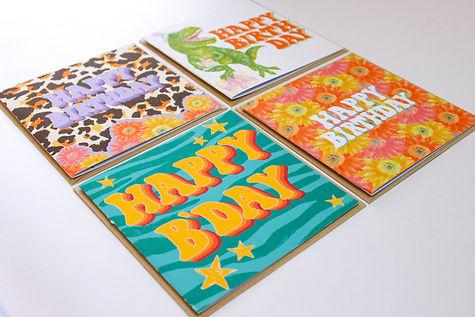 Happy Birthday Card Bundle of 4 Designs, 70s inspired, dinosaur t rex, leopard print, floral, zebra print