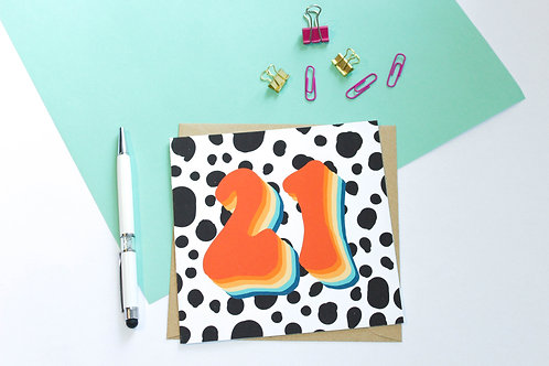 Personalised Age Groovy Retro Greeting Card
