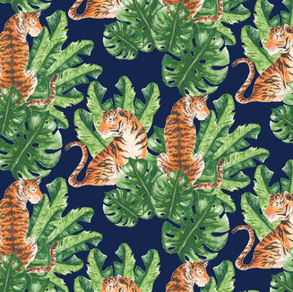 Tigers and Tropical Leaf Pattern