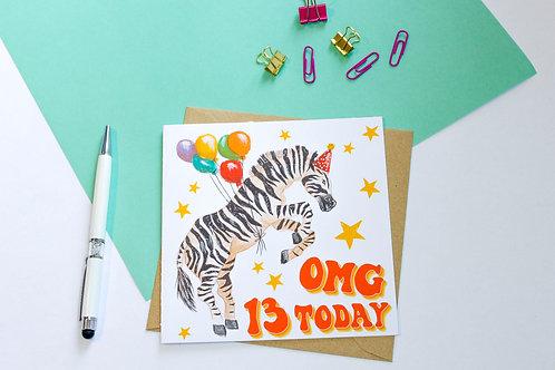 Personalised Age Zebra Birthday Card