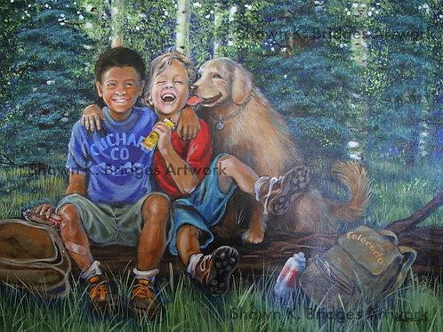 Kids on Log