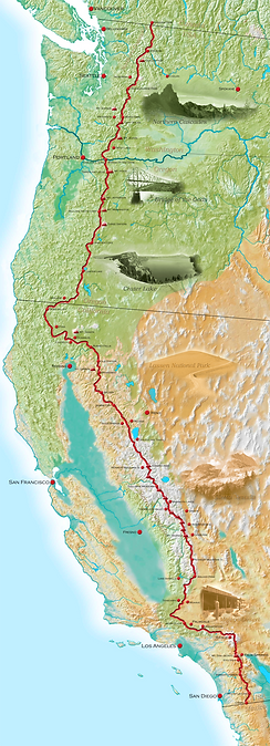 Pacific Crest Trail Entire Map with towns and trail
