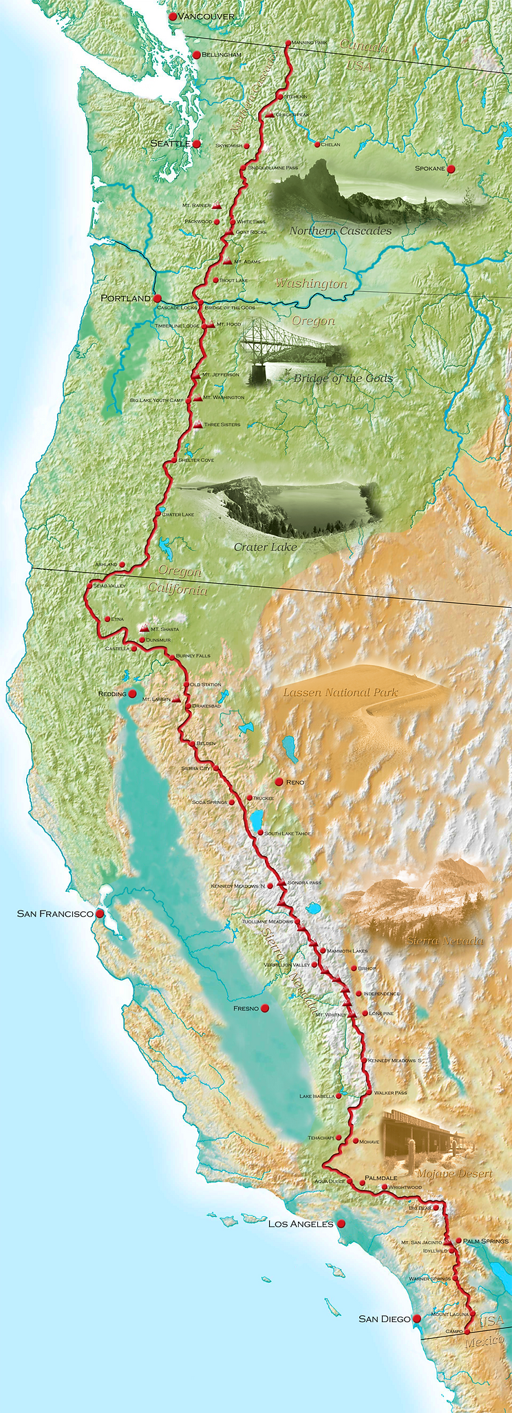 High resolution hiking map of the entire Pacific crest Trail (PCT) coipyright Andre de Jel - Friendlyhiker.com