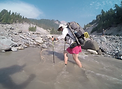Friendly Hiker CookieMonster crossing a glacial river at Mount Hood