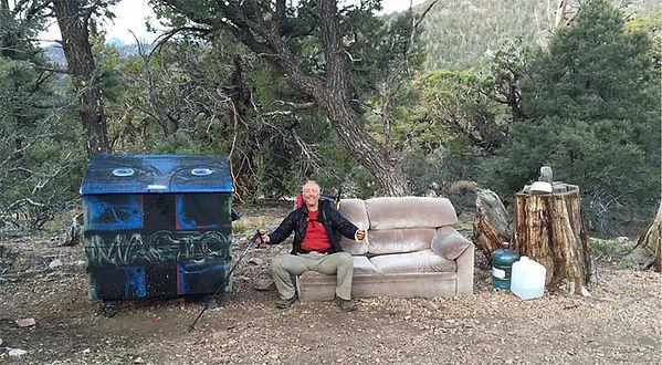 hiker sitting in sofa - trail magic - Pacific Crest Trail  - copyright friendlyhiker.com