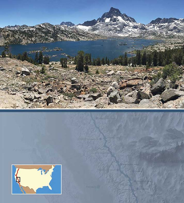 1000 island lake sierra nevada - book six months with three pairs of undies  - Pacific Crest Trail  - copyright friendlyhiker.com