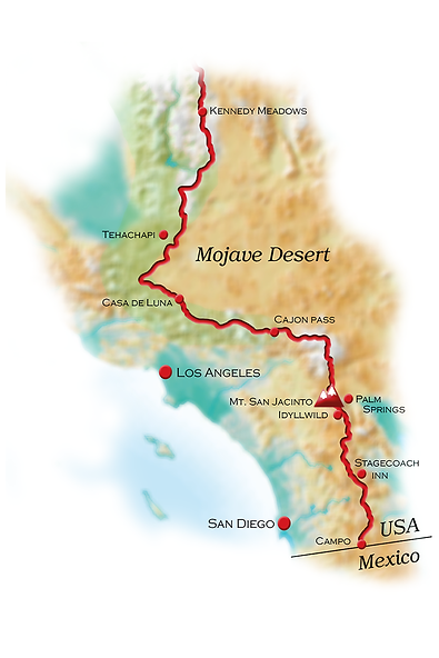 map Southern California - Pacific Crest Trail  - copyright friendlyhiker.com
