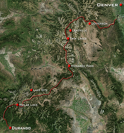 Colorado Trail Entire Map with towns and trail