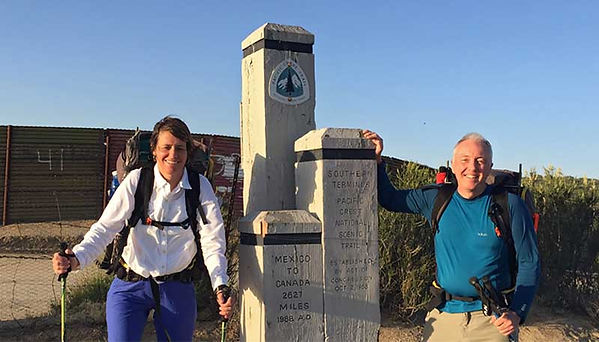 2 hikers at start mounument mexican border - Pacific Crest Trail  - copyright friendlyhiker.com