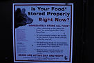Sign with rules on how to store your food in bear country.