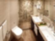船内客室のバスルーム(ダブル・シンク)