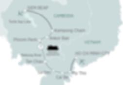 メコン川リバークルーズ  ホーチミン~シェムリアップ 7泊8日クルーズ 航路図