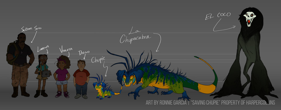 Saving Chupie - Cast and Monster size chart