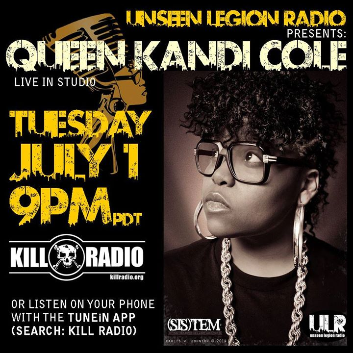 This Tuesday night- tune in for some dope rhymes with Queen'Kandi Cole