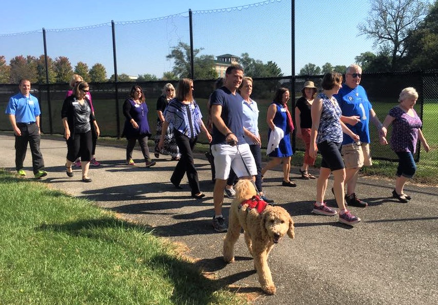 Dr. Dornfeld (third from right) leads a walk on October 6th 2016.