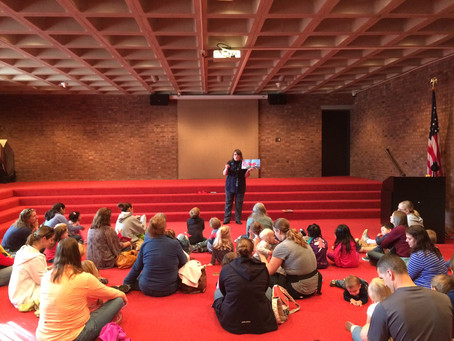 Kids learn about safe walking at library event