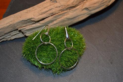 boucles argent doubles anneaux