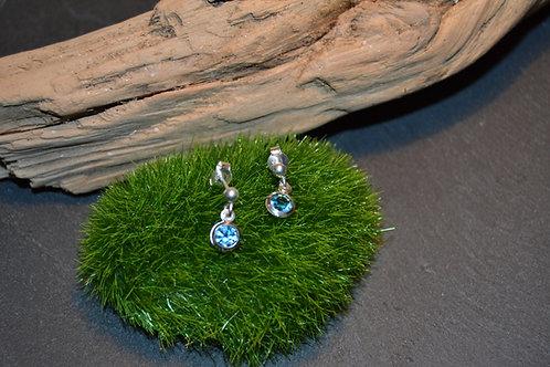 boucles argent cristal bleu rond