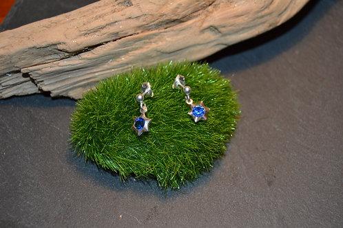 boucles clou d'oreilles argent 925 et cristal bleu étoile