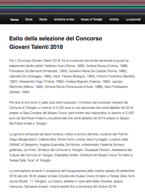 Pleased to be shortlisted for Premio Treviglio 2018