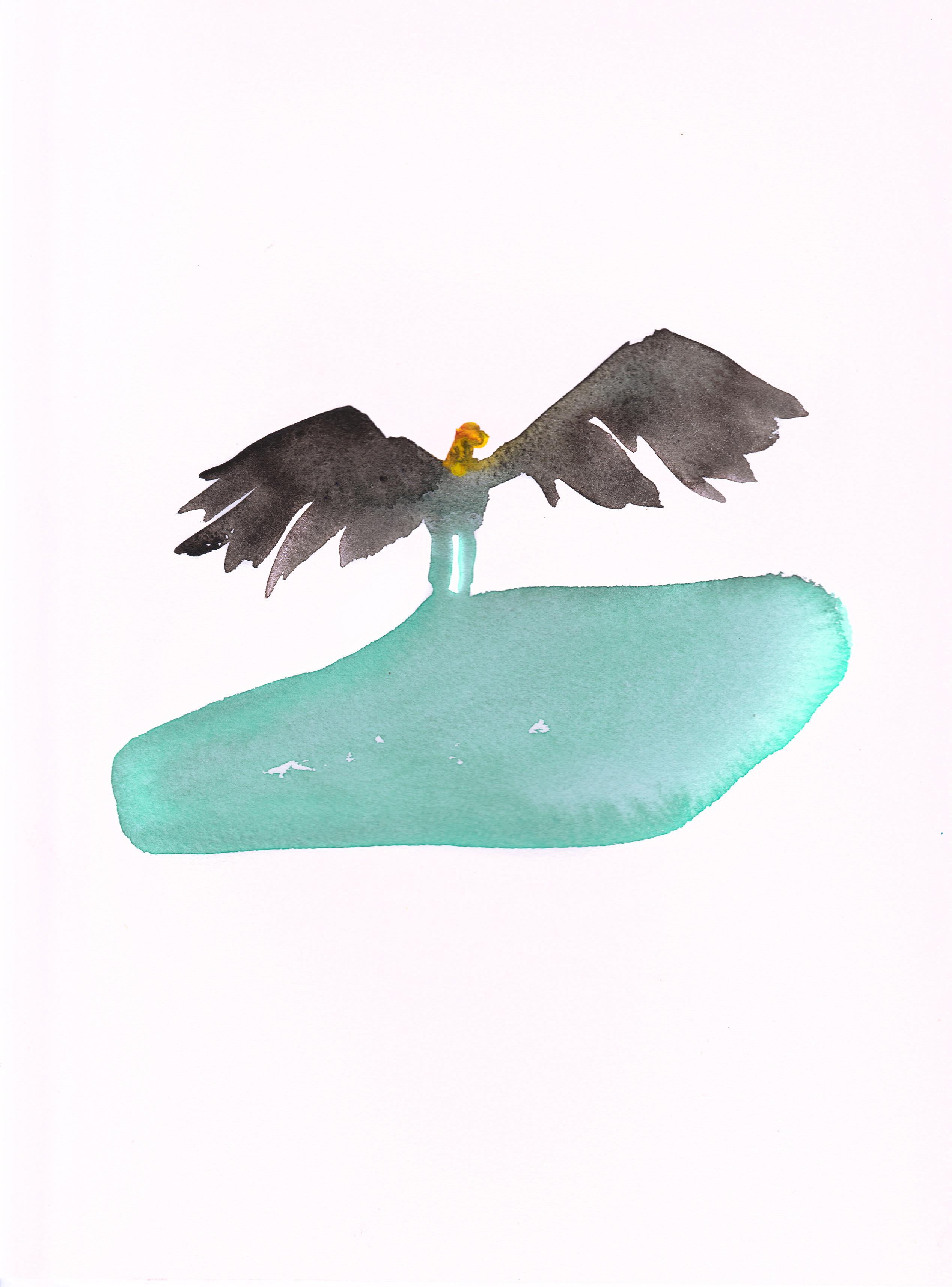 Vera Portatadino, Vulture's Flight, 2015, watercolour on paper, 30 x 24 cm