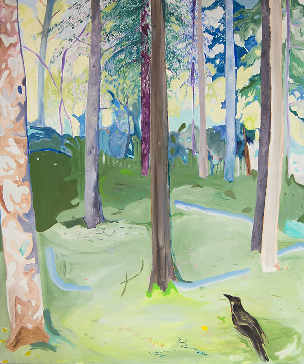 Vera Portatadino, painting by contemporary artist Vera Portatadino, titled Nevermore, inspired by poem by Edgar Allan Poe, depicting a forest collapsing and disappearing, while a black crow stands aside looking and witnessing the precariousness of life.