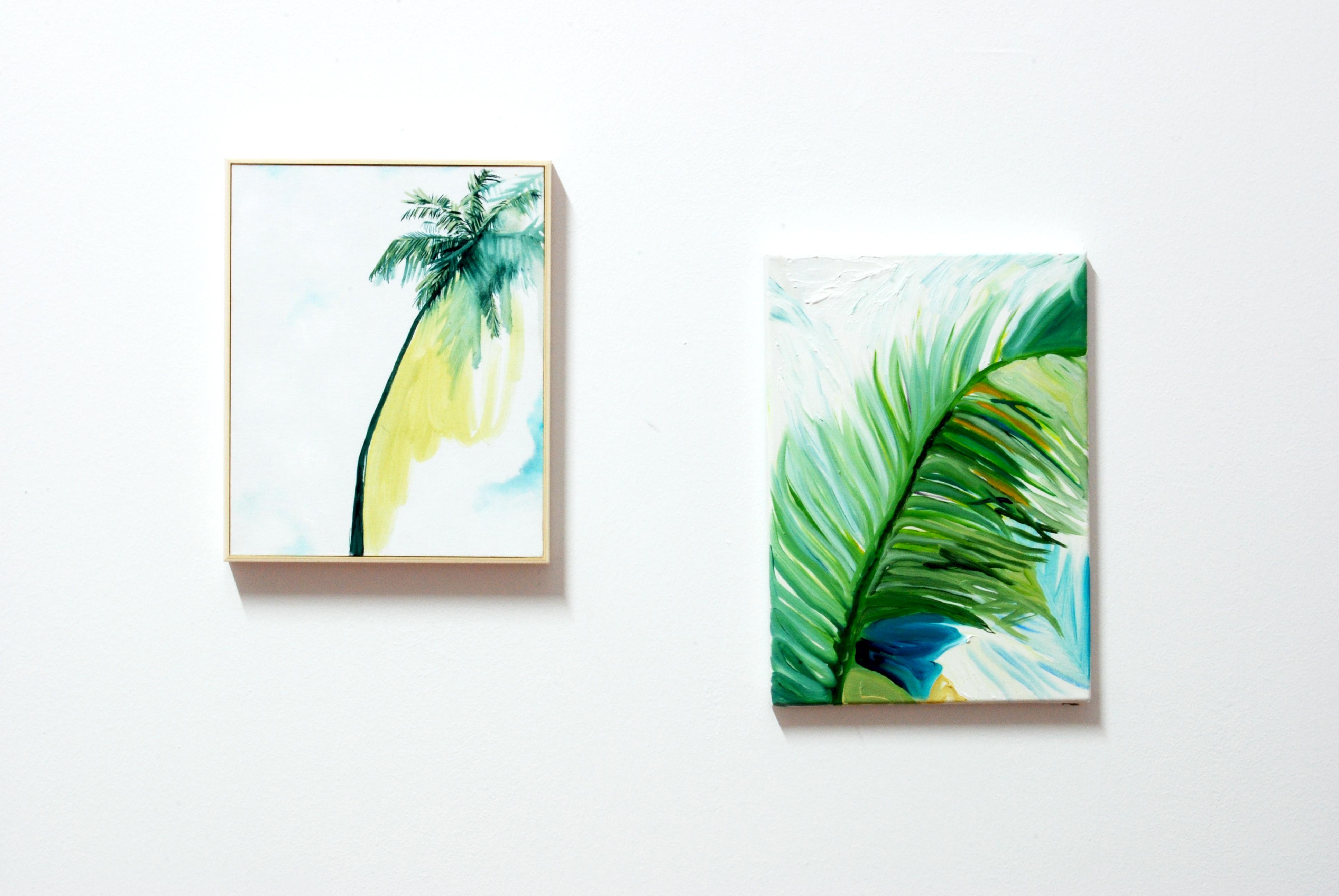 Vera Portatadino, Mafia Island, 2014, oil on two canvases, 30x25 and 35x25 cm