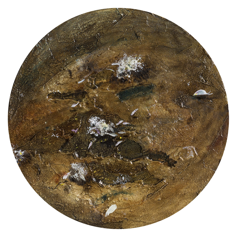 Vera Portatadino, Planet, 2017, olio su tela, diametro 20 cm