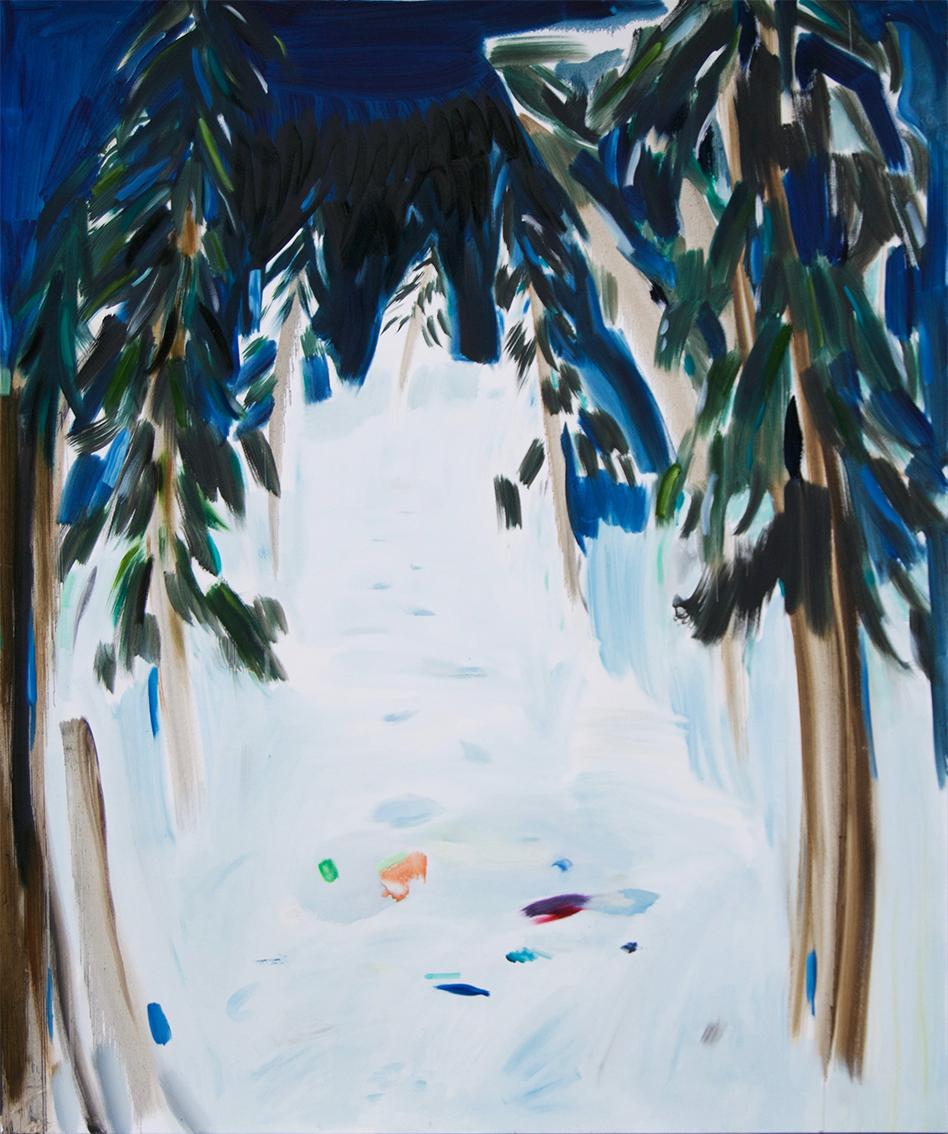 Vera Portatadino, Dark Walls and Magnets 2016, oil on canvas, 190 x 160 cm
