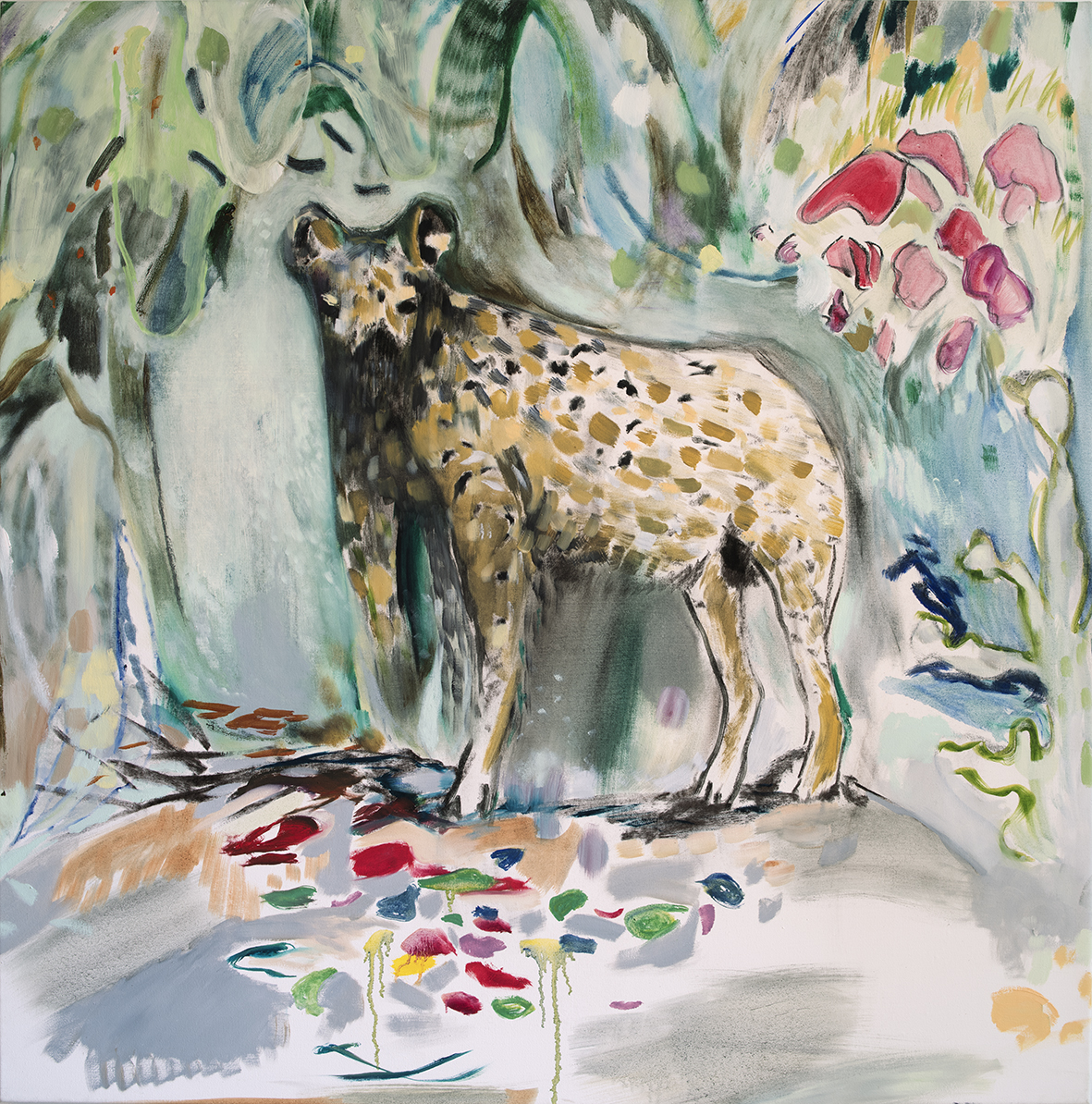 Vera Portatadino, Standing Hyena, 2015, olio su tela, 120 x 120 cm